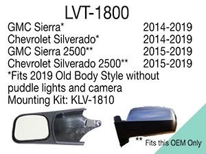 Longview Custom Towing Mirrors - Slip On - Driver and Passenger Side  LVT-1800