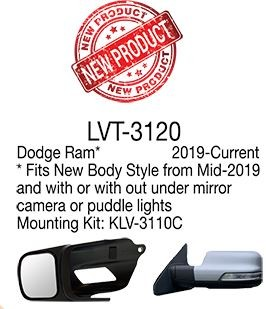 Longview Towing Mirror Black Longview LVT-3120 Original Slip-On Towing Mirror for Dodge Ram (2019-2020)